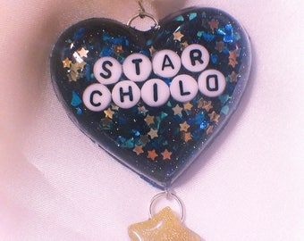 Star Child Space Heart Resin Key Chain