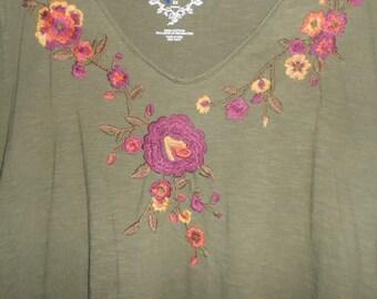 Embroidered boho hippie plus size 3XL  T shirt,darkolivegreen 100%coton