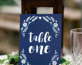 Floral Wedding Table Numbers / Table Names
