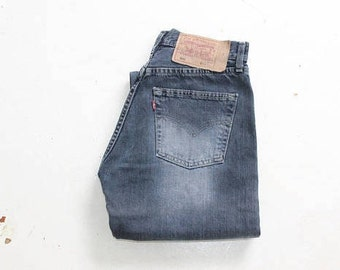 Mom Levis Jeans 80s Tapered Loose Fit Levis Jeans 501 90s Denim High Waist Pants Button Fly Trousers Classic Vintage Waist W28 L30 Medi