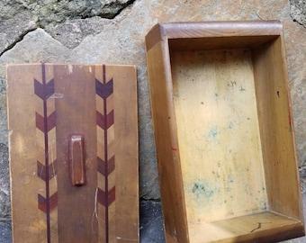 Vintage Wooden Box- Keepsake/Jewelry/Momento/Souvenir/Pencil Box- Desk Storage & Organization- Catch-all- Small Container- Decorations/Decor