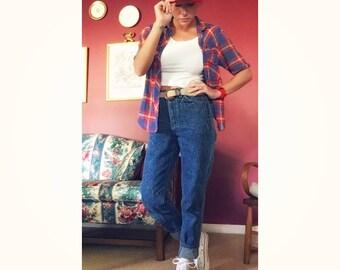 Lee Skinny Straight Leg High Waist Mom Jeans Acid Wash 1980s 1990s Size 5 Medium
