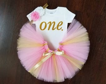 Baby Girl 1st Birthday Outfit - Pink and Gold Tutu