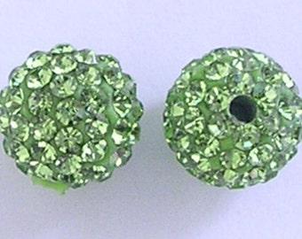 10 Peridot Quality Pave Rhinestone Disco Balls 8mm 10mm 12mm Shamballa Beads