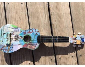 """Decoupage Soprano Ukulele, """"Corax Blue,"""" custom instrument"""