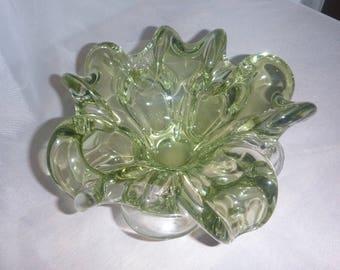 Superb Bowl / dish blown glass hand - flower - Sage Green light