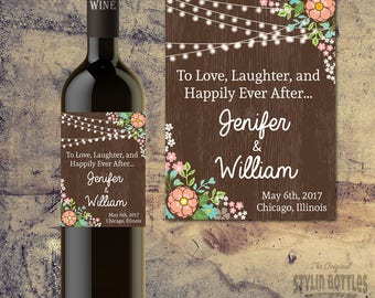 Wedding Wine Bottle Label, Custom Wedding Wine Bottle Labels, Rustic Wedding Decor, Country Wedding-To LOVE, LAUGHTER and Happily EVER After