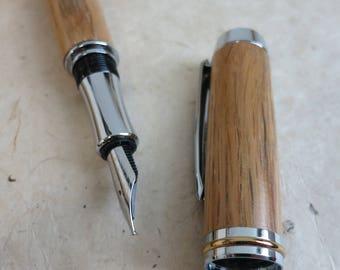 Morley Recycled Whiskey Barrel Oak Fountain Pen in brass/chrome finish