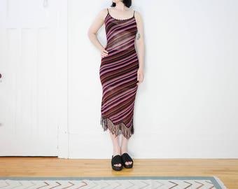 90s does 70s Knit Tank Dress with Fringe / Crochet Size S-M