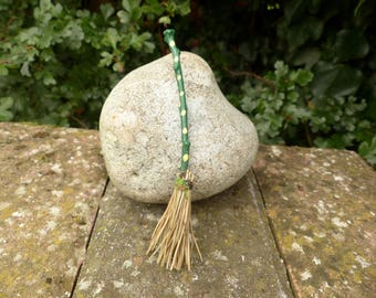 Green Spotty Fairy Broomstick - Miniature Broom, Besom, Witch Broom, Wizard, Magic, Dollhouse Miniatures, Tooth Fairy, Altar, Birthday Gift