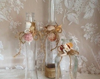 Sea Shell Bottle Decor Candle Holders