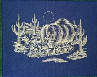 8X10 Western Covered Wagon scene embroidered on stretch denim fabric