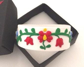 Folk art jewelry - Hungarian jewelry - Kalocsai bracelet - Polymer clay bracelet - Hungarian folk art jewelry - Polymer clay jewelry