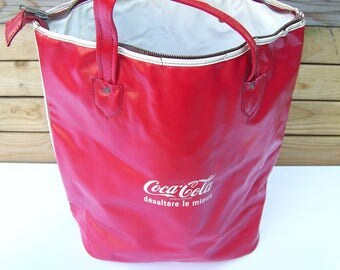 Bag vintage made in France from the 1960s - Vintage Coke Coca-cola Icicle insulated isothermal bag made in France 1960