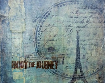 Mixed Media Travel Inspiration Art for Home Decor. Eiffel Tower. Vintage Style.