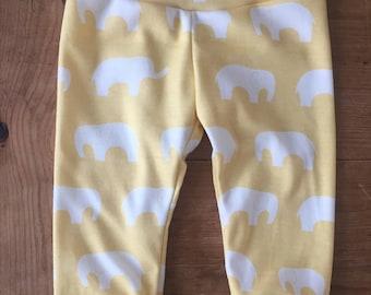 Sunshine Yellow Elephants Cotton Knit Leggings