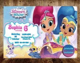 Shimmer and Shine,  Shimmer and Shine invitation, Shimmer Shine Party, Shimmer Shine birthday, invitation printable
