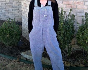Vintage Big Smith Striped Conductor Dungaree Overalls