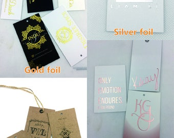 Custom texture paper hang tags for clothing, gold foil texture hang tag