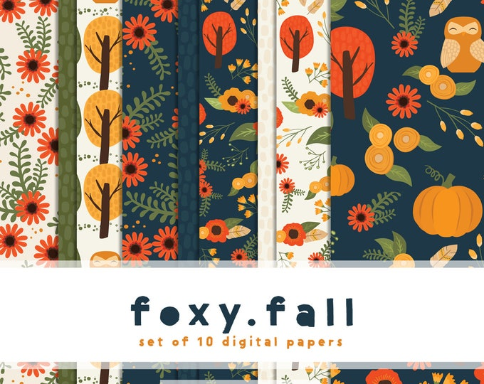 Featured listing image: Foxy Fall Digital Paper Collection { set of 10 } in Navy, Burnt Sienna, Vibrant Orange & Greens
