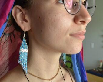 Silver & Aqua Handmade Beaded Earrings