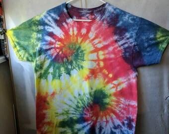 Outward Double Spiral Rainbow Tie Dye T-Shirt