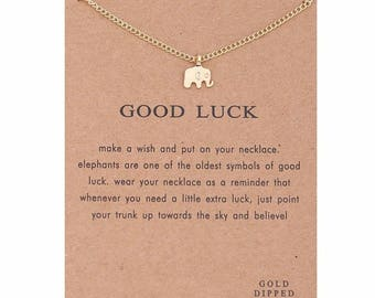 Golden Good Luck Elephant Necklace with Message