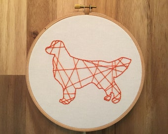 Golden Retriever Embroidery Hoop