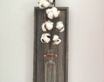 Rustic Wooden Wall Sconce featuring cotton stem, Rustic Decor, Farmhouse, Fixer Upper Style