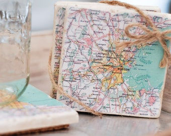 Custom City Map Coasters / Bulk pricing available / Pastel Colors