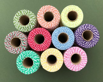 10m Length Bakers Twine - British Made Everlasto - 3mm - Variety of Colours - Gift Packaging - Butcher's String - Scrapbook Embellishment