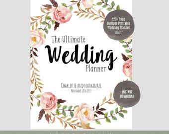 "Wedding Planner, Printable Wedding Planner, Wedding Binder, DIY planning organizer, 8.5x11"" Instant Download PDF"