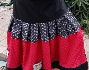 Skirt T 44 46 designer original woman skirt long skirt red black and gray