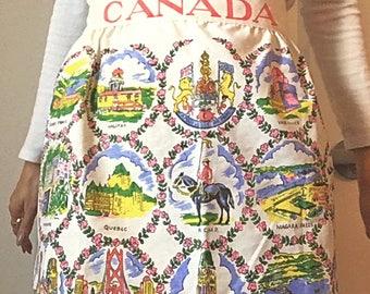 Vintage Canadian Province's Apron / Vintage Waist Apron /  mid-century vintage apron / Canadian Souvenir