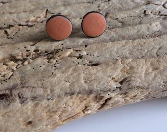 Earrings Stud, studs, round, coral,