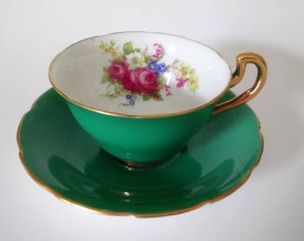 Vintage Antique Vanderwood Cup And Saucer Cobalt Green Cup Saucer