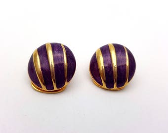Vintage Clip on 60s Earrings Purple Enamel Gold Tone Metal Round Striped Geometric Modernist Mod Retro Classic Feminine Runway Statement