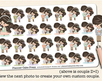 Couples Stickers Custom |  Couple Planner Stickers | Date Night Stickers | Date Night Planner Stickers Fits ECLP