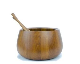 Dansk Staved Teak Salad Bowl, Dansk Designs Denmark IHQ and Utensils, Jens Quistgaard