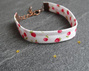 Cuff, fruit, strawberry, cherry, red and white