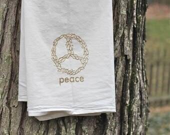 flour sack tea towel-flour sack towel-hostess gift-Peace towel-Gold towel-Inspirational gift-Dish Towel-Kitchen art-gold towel, hostess gift
