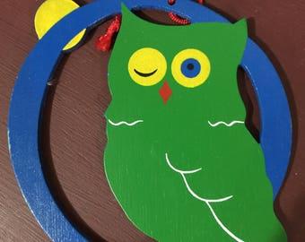 "Vintage Wood Animal / Letter ornaments ""O for Owl"""