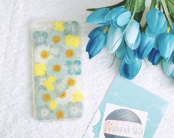 Handmade pressed flowers cellphone Silicone soft case for iphone 10 or iphone 7plus iphone 8 plus blue agreen case