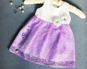 Rare lace flower girl dress, lilac birthday girl dress, baby girl's dress, organic cotton dress, lilac lace dress, baby girl gown