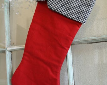 Red Linen Stocking #13