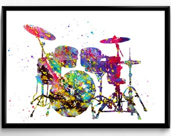 Drums, Drum Set, Musical Instrument, Colorful Watercolor, Poster, Room Decor, gift, print, wall art  (154)