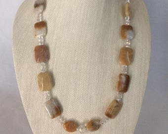 Yellow Jade & Crystal Necklace Earring Set