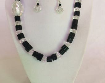 Cane Glass Necklace Earring Set