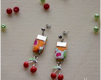 Liberty fabric orange and red cherry charm earrings
