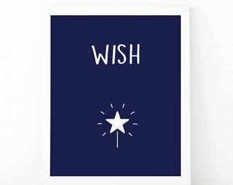 Make a wish, Star light, Star bright, Nursery Print, Printable Art, Kids room decor, Nursery Decor, Instant Download, playroom printable art
